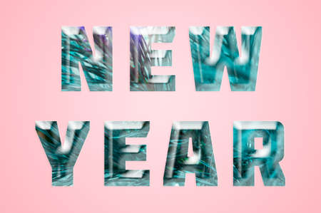 Art ice lettering new year  in minimalism style on pink backdrop