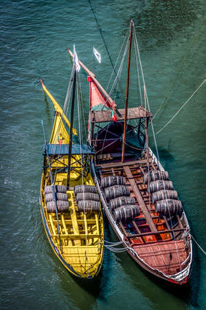 casks: Rabelo boats, traditional Port Wine transports on Douro river.