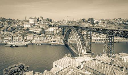 luis: Porto cityscape. Bridge of Luis I over the river Douro.