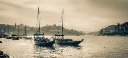 rabelo: Typical rabelo boats in Porto, Portugal. High angle view to Douro river.