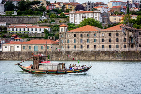 rabelo: Typical rabelo boat for tourists in Porto, Portugal.