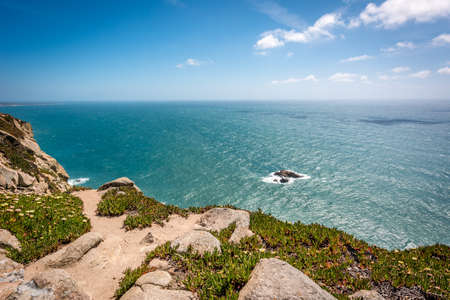 sintra: Cabo da Roca, Cape Roca in Sintra, Portugal. Atlantic ocean.