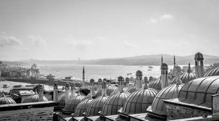 cupolas: City scape. View from Suleymaniye mosque(otherwise known as the Magnificent Mosque) to Bosphorus, Istanbul, Turkey.