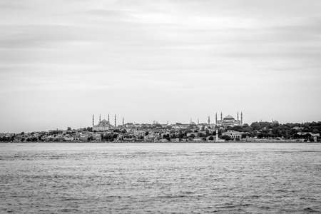 aya sofia: Istanbul, Turkey - October 1, 2015 : View from Bosphorus to the Eminonu and Suntanahmet in Istanbul. Editorial