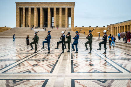 grave stone: Ankara, Turkey - October 23, 2015: Changing of the guards in mausoleum of Mustafa Kemal Ataturk - the founder of the Republic of Turkey.