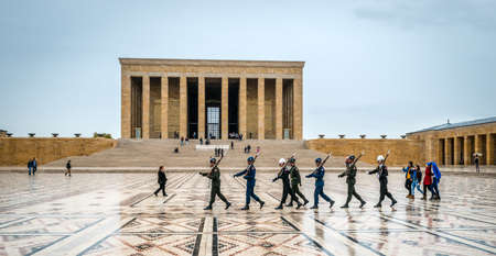 mustafa: Ankara, Turkey - October 23, 2015: Changing of the guards in mausoleum of Mustafa Kemal Ataturk - the founder of the Republic of Turkey.