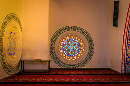 beautiful allah: Ankara, Turkey - October 23, 2015: Kocatepe mosque interior in the evening. Photography of slow shutter spead. Editorial