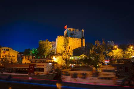 hisari: HDR night photography of Anadolu fortress Anadolu hisari in Istanbul, Turkey. Long exposure Editorial