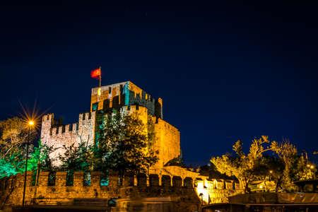 hisari: Night photography of Anadolu fortress Anadolu hisari in Istanbul, Turkey. Long exposure