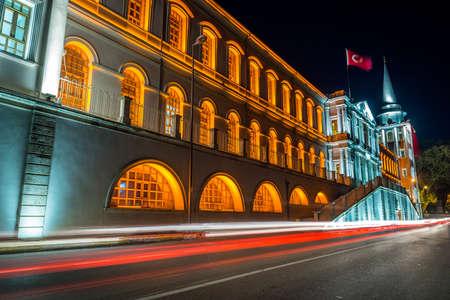 night school: Military High School- Kuleli school in Istanbul, Turkey. Long exposure night photography Editorial