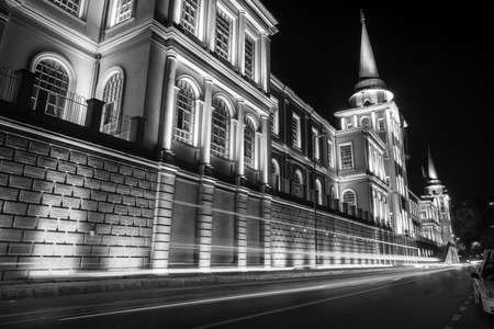 black flag: Military High School- Kuleli school in Istanbul, Turkey. Long exposure black and white night photography.