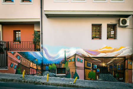 thessaloniki: Thessaloniki, Greece - December 24, 2015: Wall painting on the house in Thessaloniki, Greece. Author unknown. Editorial