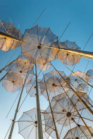 Umbrellas sculpture on Thessalonikis sea front.