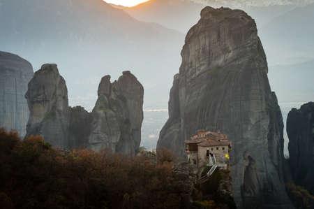 kalambaka: Holy Monastery of Rousanou during the sunset, Kalambaka, Greece