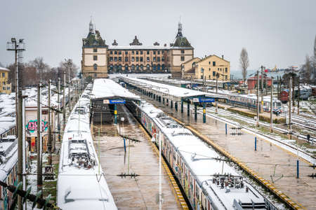 haydarpasa: Istanbul, Turkey - January 18, 2016: Trains in the Haydarpasa train station during the winter in Istanbul.