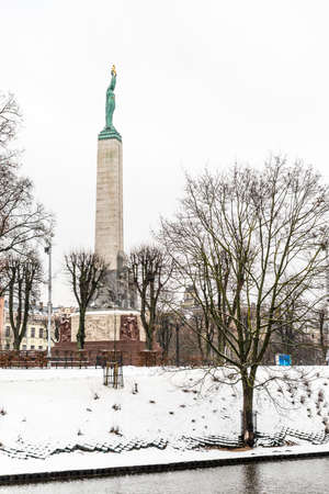 socle: Riga, Latvia - February 20, 2016: The Freedom Monument in Riga, Latvia honouring soldiers killed during the Latvian War of Independence.