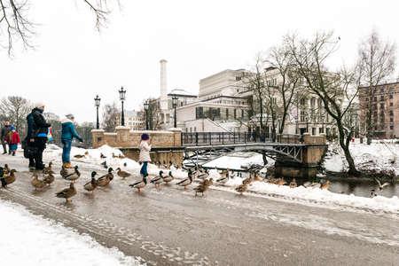Riga, Lettonie - 20 Février, 2016: Les gens se nourrissent des canards dans le parc de Riga centre-ville en Lettonie