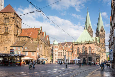 medieval: Bremen, Germany - May 28, 2015: People are walking on the streets in Bremen, Germany Editorial