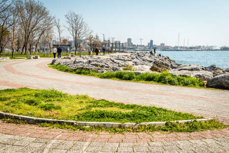 leasure: Istanbul, Turkey - March 29, 2016: People are spending their leasure time on the Moda coastine in Istanbul, Turkey Editorial