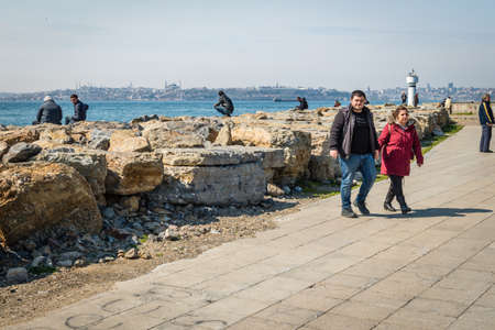 kadikoy: Istanbul, Turkey - March 29, 2016: People are spending their leasure time on the Kadikoy coastine in Istanbul, Turkey Editorial