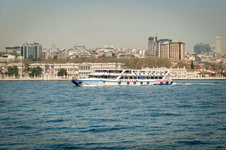 seaway: Istanbul, Turkey - April 06, 2016: People are crossing Bosphorus on the Ferry boat in Istanbul, Turkey Editorial