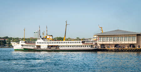 ferryboat: Istanbul, Turkey - April 18, 2016: People are getting off the ferryboat in kadikoy port in Istanbul, Turkey Editorial