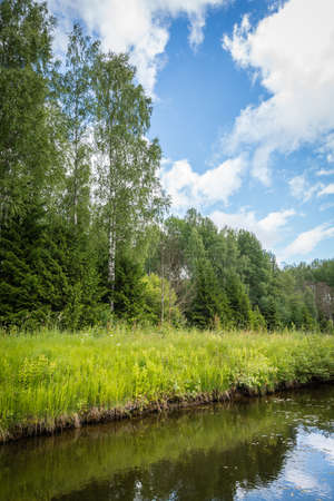 Rural landscape in Latvian countryside Stock Photo