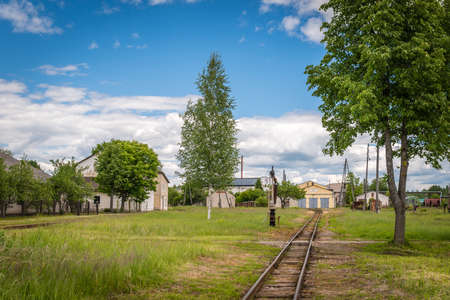 narrow gauge: Gulbene, Latvia - Jun 13, 2016: Old narrow gauge railway in Gulbene, Latvia