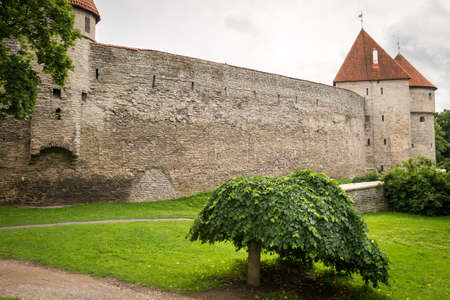 Historical Fortress wall and tower of Old Town, Tallinn, Estonia
