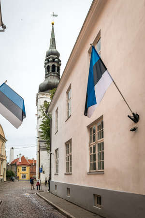 tallin: Tallinn, Estonia - July 04, 2016: Local people and tourists are walking in Tallinn old town in Estonia