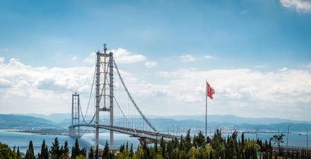 Kocaeli, Turkey - September 03, 2016: Newly constructed Osman Gazi Bridge which is crossing the sea of Marmara from Kocaeli, Turkey.
