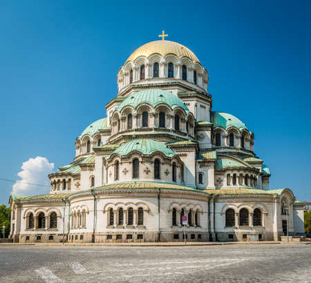 Sofia, Bulgaria - September 15, 2016: The St. Alexander Nevsky Cathedral which is a Bulgarian Orthodox cathedral in Sofia, the capital of Bulgaria.