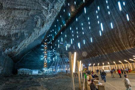 Turda, Romania - September 17, 2016: People are visiting Salina Turda which is a salt mine located in Turda, Romania Editöryel