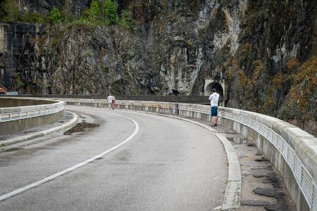 transfagarasan: Transylvania, Romania - September 18, 2016: People are walking on Transfagarasan highway in Transylvania, Romania
