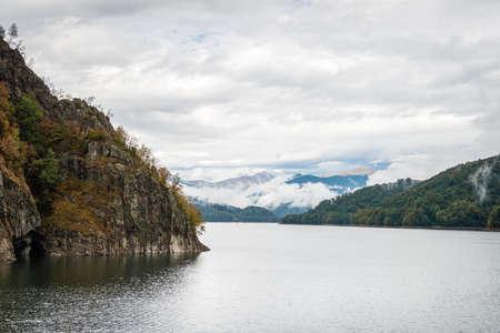 Lake Vidraru created on the dam in Carpathian mountains near Transfagarasan highway in Romania Stock Photo