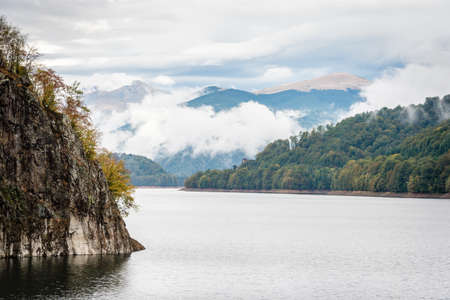 transfagarasan: Lake Vidraru created on the dam in Carpathian mountains near Transfagarasan highway in Romania Stock Photo