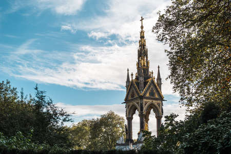 London, United Kingdom - October 17, 2016: Albert Memorial in Kensington Gardens. It was commissioned by Queen Victoria in memory of her husband, Prince Albert. Editorial