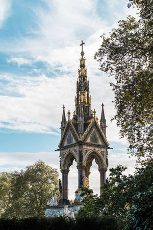 commissioned: London, United Kingdom - October 17, 2016: Albert Memorial in Kensington Gardens. It was commissioned by Queen Victoria in memory of her husband, Prince Albert. Editorial