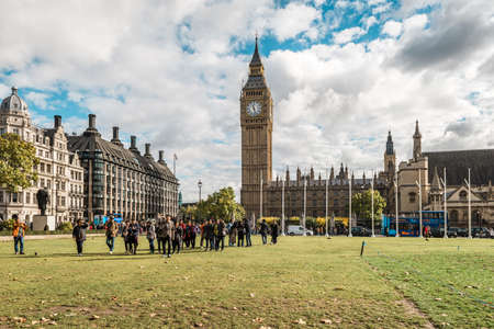 ner: London, United Kingdom - October 18, 2016: People are walking in London city ceter ner  Big Ben in London, UK