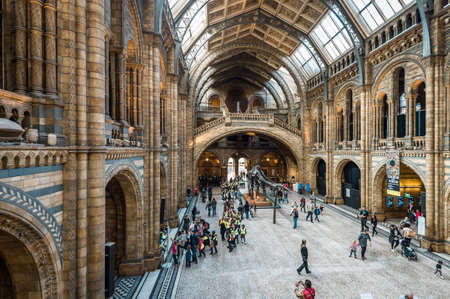 London, United Kingdom - October 19, 2016: Tourists are visiting Natural history museum in London, England.