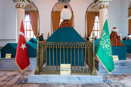 Bursa, Turkey - February 04, 2017: People are visiting Tumbs in the Mausoleum of Orhan Gazi in Bursa, Turkey