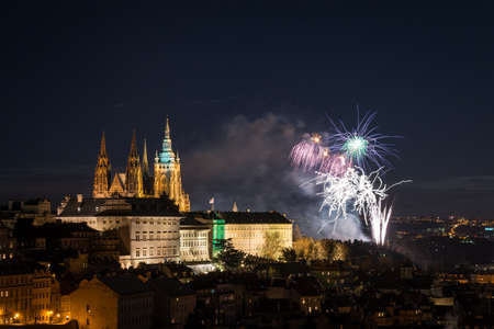 New Years fireworks in Prague 2018. View with the Cathedral of Saint Vitus from Petrin Hill
