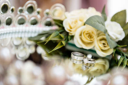 Wedding rings close up. Wedding detail photography