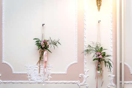 Wedding detail photography. Floral rose interior decor. Stok Fotoğraf