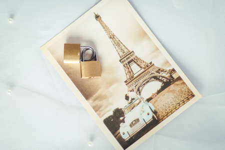 Greeting card of wedding and two locks symbolizing true love
