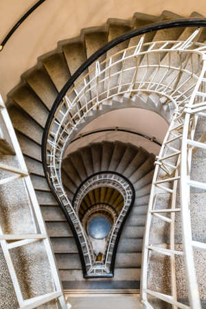 Prague, Czech Republic- February 18, 2018: Bulb shaped cubism style stairs in the House of the Black Madonna which is a cubist building in the Old Town area of Prague, Czech Republic