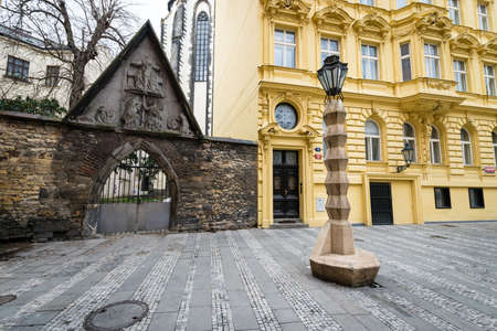 Prague, Czech Republic- February 18, 2018: Cubist Lamp Post in Prague, Czech Republic. Designed by Czech architect Emil Králí�ek, this lamp post is the only Cubist lamp post in the world. Editorial