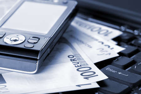 wealthy lifestyle: Office, business accessories and euro banknotes Stock Photo