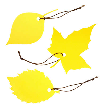Collage of three yellow leaf-shaped labels tied with brown string, isolated on white photo