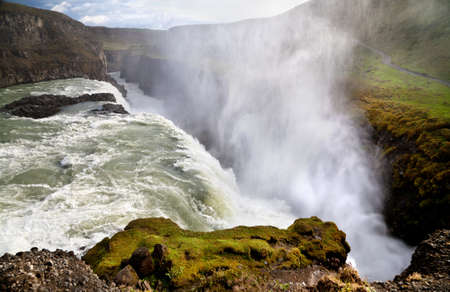 Gullfoss  Golden waterfall , most famous waterfall in Iceland